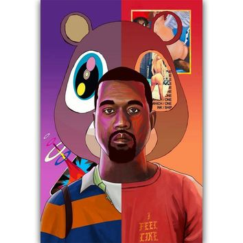 FX374 Hot Kanye West Yezzy USA Grammy Bear Kaws Rap Hip Hop Super Star Cover Poster Art Silk Canvas Home Room Wall Print Decor