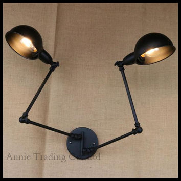 Rotating Indoor Wall Lamp Office Swing Rock Wall Sconce 2 Head Lights Black Robot Arm Work Reading Study Painting Light