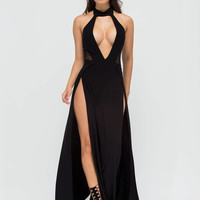Legs For Days Plunging Slit Maxi Dress