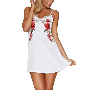 Lace Splice Embroidery Flower Summer Slip Dress