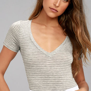 Charming Chance Heather Grey Striped Bodysuit