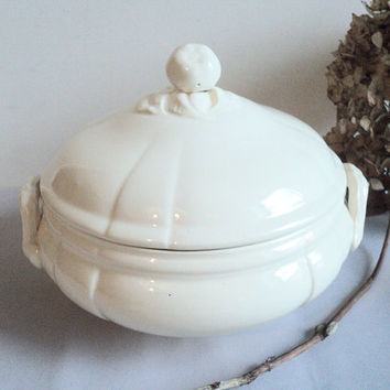 Antique French Soup Tureen with Lid Sarreguemines Majolica Creamware Hollow Deep Dish Shabby French Chic Vegetable Bow Earthenware Ironstone