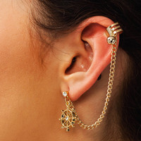 Chain-Link-Helm-Ear-Cuff GOLD - GoJane.com
