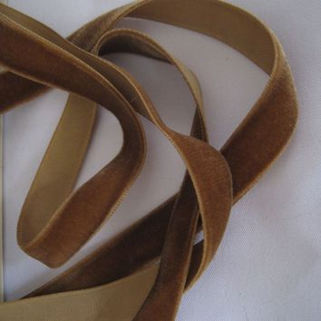 French Velvet ribbon Vintage 30s taupe brown fabric ribbon trim narrow 5/8 inch