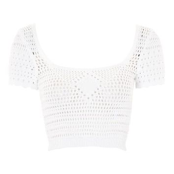 Stitched Square Neck Top - T-Shirts - Clothing