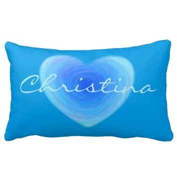 Deep Blue Water Heart - Love in Blue Personalized Throw Pillow