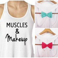 Muscles & Makeup Tank Top. Bow Tank Top. Workout Tank . Exercise Shirt. Gym Tank