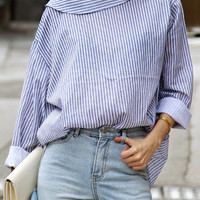 Blue Striped Long Sleeve Back Button Blouse