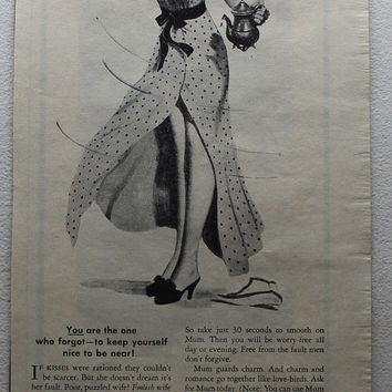 Vintage 1945 Mum Deodorant Pin-Up Girl Foolish Wife Ad Advertising Wall Art Decor