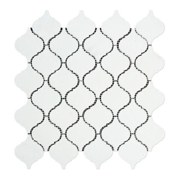 Thassos White Marble Polished Lantern Arabesque Mosaic Tile