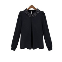 Black Sequined Collar Puff Long Sleeve Chiffon Blouse