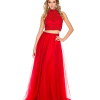 Red Keyhole Back Two Piece Halter Dress 2015 Homecoming Dresses