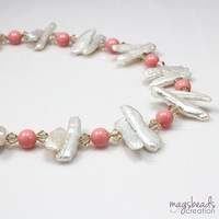 Pearls Beaded Necklace with Pink Coral Swarovski Pearls, June Birthstone, Beach, Summer Jewelry