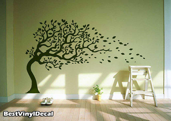 Vinyl Wall Decal Nature Design Tree Wall Decals Wall stickers Nursery wall decal wall art- Wind Blowing leaves 003