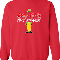 Son of a Nutcracker eleven cookies vcr Buddy The Elf Crewneck Sweatshirt Funny hoodie shirt kids youth Womens Santa Merry Christmas DT-651