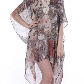 Sheer Woven Sleeved Feather Print Duster-Brown