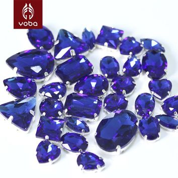50Pcs Sapphire Cobalt Mixed Shapes Mixed Sizes Sew On Claw Rhinestone Glass Crystals Sewing Stone For Clothes Decoration Y3509