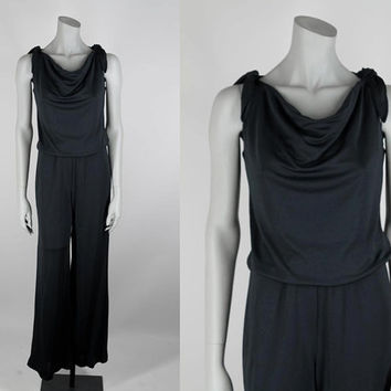 SALE Vintage 70s Jumpsuit / 1970s Minimalist Black Draped Wide Leg Jumpsuit XS S