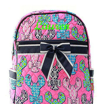 Pink Lobster Monogrammed Backpack  Monogram Quilted Backpack  Personalized Backpack
