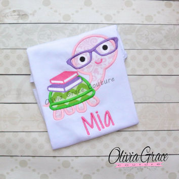 Girls Back to School Shirt, Cute Turtle With Books, Nerdy Turtle, I love School, Preschool, Kindergarten, 1st grade, Embroidered Shirt