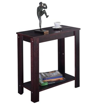 Costway Wooden Side/Coffee End Table with - Espresso