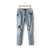 Korean Ripped Holes Denim Pants Casual Jeans [5013117380]