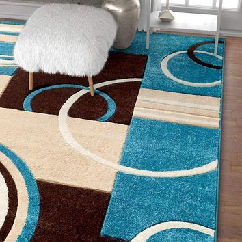 6103 Blue Hand Carved Contemporary Area Rugs