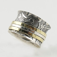 Two Tone Three Band Spinner patterned Spinner Ring