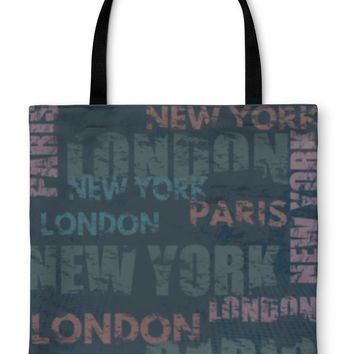 Tote Bag, Typographic Poster Design With City Names London Paris And New York