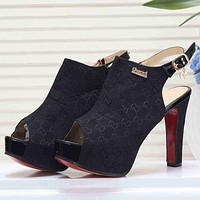 GUCCI Women Fashion Casual Peep Toe Slingback Sandals High Heels Shoes
