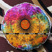 Home Decor Mandala Tie Dye Sun Zodiac sign Pom Pom Tassel Pillow Cushion Cover