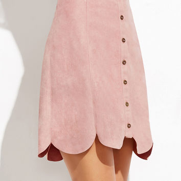 Pink Faux Suede Button Up Scallop Panel Skirt | MakeMeChic.COM