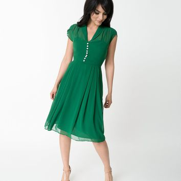 Hell Bunny Plus Size Green Chiffon Cap Sleeve Paige Flare Dress