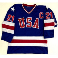 Blue Ice Hockey Jersey Vintage 1980 Miracle On Ice Team USA Mike Eruzione 21 Hockey Jersey Sport Wear
