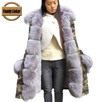 Fandy Lokar Camouflage Army Fur Parka Long Women Military Coat with Thick Real Fox Fur Hooded Detached Lining Rex Rabbit Fur