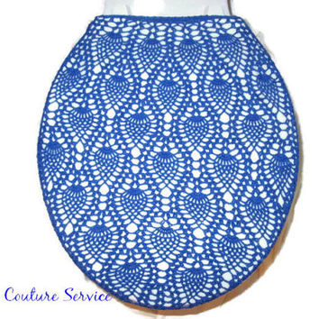 Handmade Crocheted Toilet Tank and Lid Cover, Royal Blue