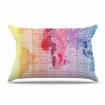 """Catherine Holcombe """"Rainbow World Map"""" Multicolor Travel Pillow Case"""
