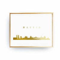 Madrid Skyline, Madrid Print, Real Gold Foil Print, Office Decor, Illustration Art Print, Spain Art, Italy Cityscape, Gold Italy Art, 8x10