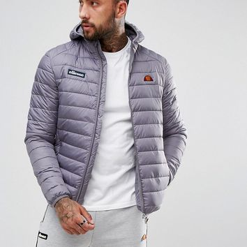 Ellesse Padded Jacket With Hood In Grey at asos.com