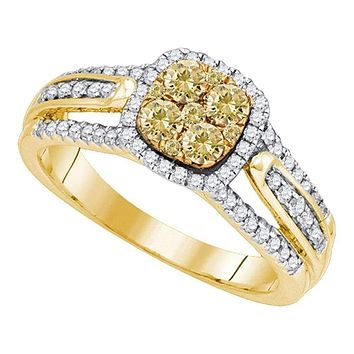 14kt Yellow Gold Women's Round Yellow Diamond Cluster Bridal Wedding Engagement Ring 3/4 Cttw - FREE Shipping (US/CAN)