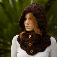 Hooded Cowl, Wood Button Crochet hooded scarf, Brown Woodland