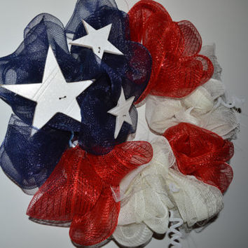 American Flag Ribbon Mesh Wreath - Patriotic
