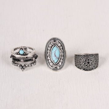 Etched Faux Stone Ring Set