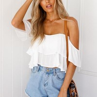 Flowing Summer 2.0 Top (White) | Xenia Boutique | Women's fashion for Less - Fast Shipping