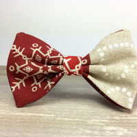 Bow Tie by BartekDesign: pre tied red christmas ornaments xmass joy december print beige gift for her him fun