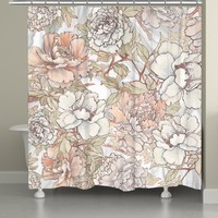 Blushing Pale Pink Peonies Shower Curtain