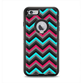 The Sharp Pink & Teal Chevron Pattern Apple iPhone 6 Plus Otterbox Defender Case Skin Set