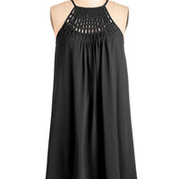 ModCloth LBD Mid-length Spaghetti Straps Shift, Tent Trapeze-y on the Eyes Dress in Black