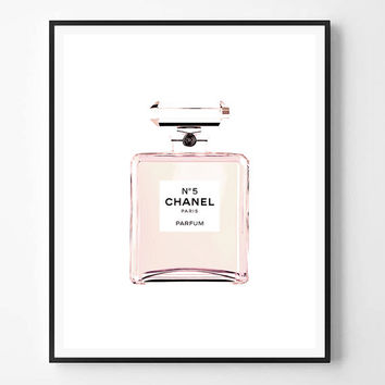 Chanel print, Fashion Print, Coco Chanel, Chanel perfume, Pink bottle, Fashion, Modern print, Typography Wall Art, Minimalist, Scandinavian