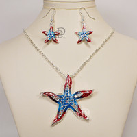 Red White Blue Starfish Pendant Necklace Earrings Set